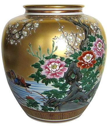 Japanese Antique Porcelain Kutani Vase 1930s Japanese Antique