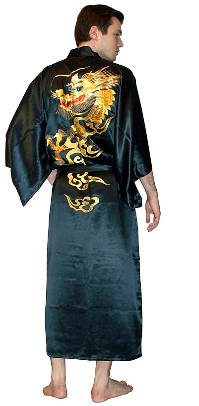 Man's pure silk embroidered kimono gown for man. Japanese ...