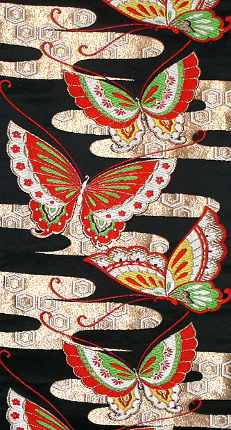 Japanese Silk Brocaded Obi Belt For Kimono 1960 S