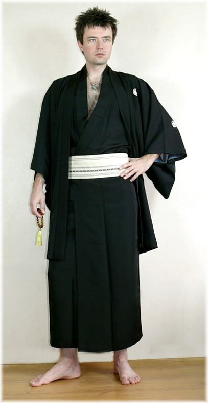 Japanese man's antique silk haori jacket with hand-painted ... Японцы В Кимоно