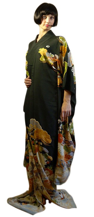 Japanese Antique Hand Painting Geisha S Kimono 1920 S