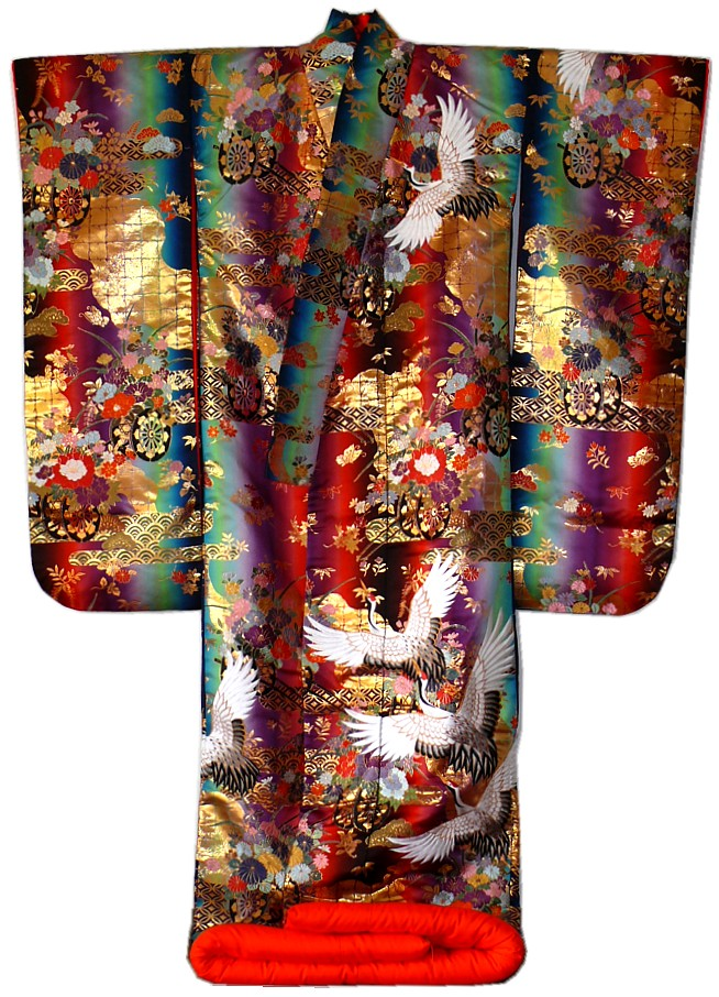 Japanese Silk Brocader Wedding Kimono Gown 1970u0026#39;s. Japanese Outfit Traditional Kimono Wedding ...